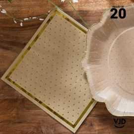 20 Serviettes papier Kraft bords dorés 16,5 X 16,5 cm.