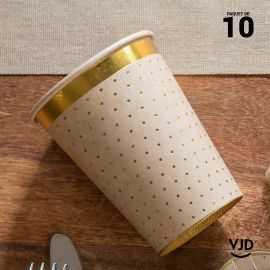 10 Gobelets carton kraft et or 20 cl