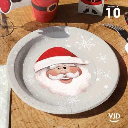 10 assiettes Père Noël 22,5 cm