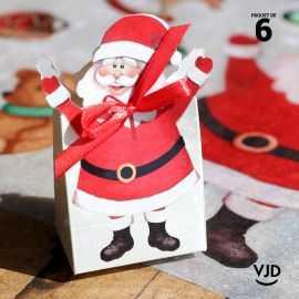 6 sacs carton Père Noël 10 cm