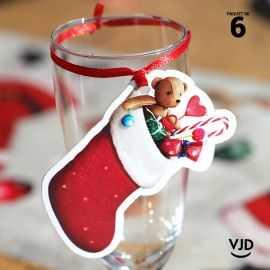 6 marques-places Botte du Père Noël avec ruban 16 cm