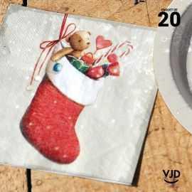 20 Serviettes papier Bottes père Noël 16,5 X 16,5 cm.