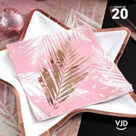 20 Serviettes papier Noël Tropical rose 16,5 X 16,5 cm.