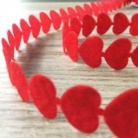 Ruban feutrine coeur rouge