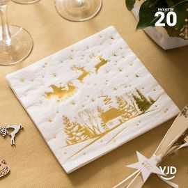 20 Serviettes papier traineau Cerf enchanté 16,5 X 16,5 cm.
