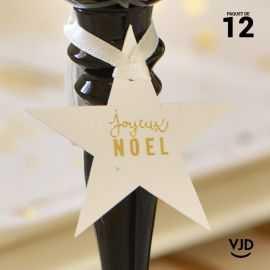 12 marques-place Joyeux Noël avec ruban, couleur or.