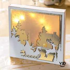 Décoration Cerf enchanté lumineux or 25 cm. En bois