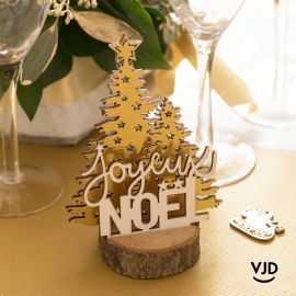 Décoration Joyeux Noël étoile or sur socle 12 cm. En bois