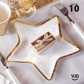 10 petites assiettes carton étoile or