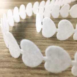 Ruban feutrine coeur blanc