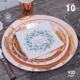 10 assiettes rondes rose gold brillante 26 cm