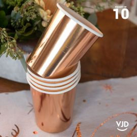 10 Gobelets carton rose gold brillant 20 cl