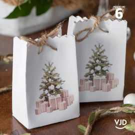 6 sacs carton Noël traditionnel 9 cm