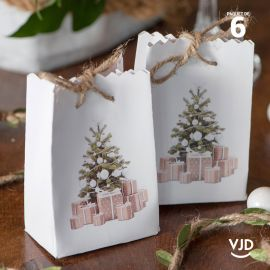 6 sacs carton Noël traditionnel 9 cm