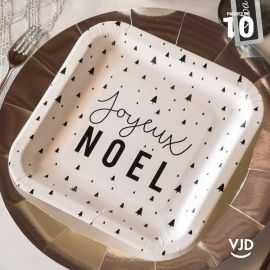 10 assiettes carton plate carrée Joyeux Noël 23 cm