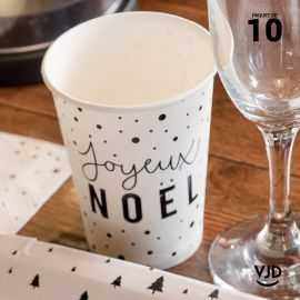 10 Gobelets carton blanc Joyeux Noël 20 cl