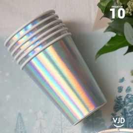 10 Gobelets carton irisé 20 cl
