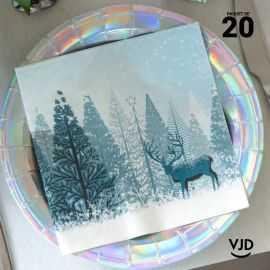 20 Serviettes papier Forêt d'hiver bleu glacial 16,5 X 16,5 cm.