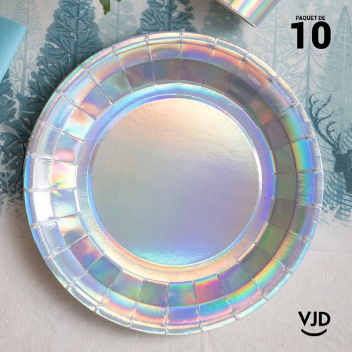 10 assiettes rondes iris brillante 26 cm