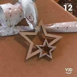 12 confettis bois et argent double-étoiles pailletés.