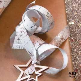 Bolduc mat-brillant étoiles de fêtes argentées, 25 mètres.
