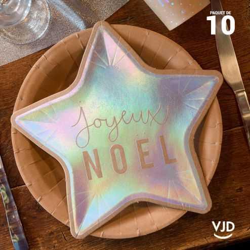 10 petites assiettes carton étoile Joyeux Noël irisé