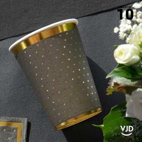 10 Gobelets carton passe-partout noir et or 20 cl