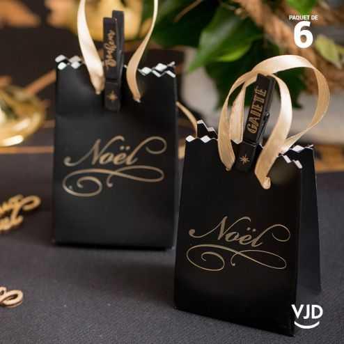 6 sacs carton noir Il était une fois Noël 9 cm