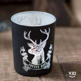 Photophore cerf de Noël noir 6,7 cm