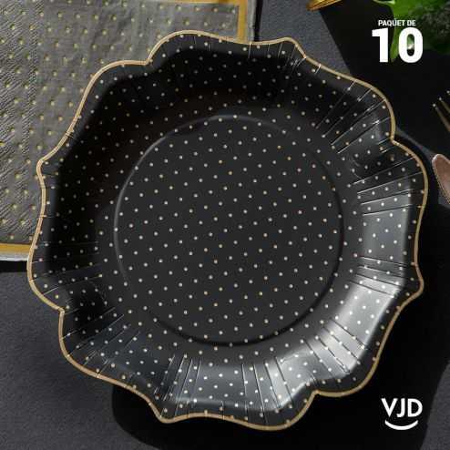 10 assiettes pois dorés carton couleur noir 21 cm