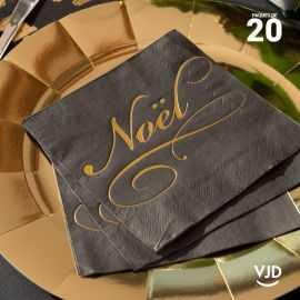 20 Serviettes papier noires Il était une fois Noël 16,5 X 16,5 cm.