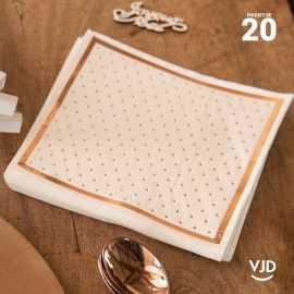 20 Serviettes papier blanches bords dorés 16,5 X 16,5 cm.
