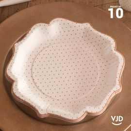10 assiettes pois dorés carton couleur blanche 21 cm