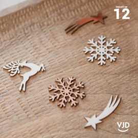 12 confettis assortiment Noël enchanté rose gold