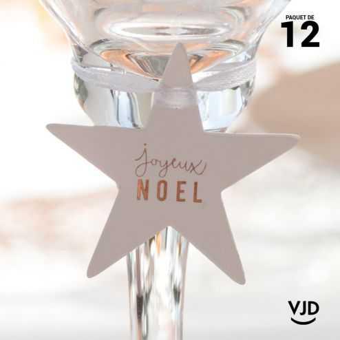 12 marques-place Joyeux Noël avec ruban, couleur cuivre.