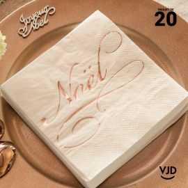 20 Serviettes papier blanches Il était une fois Noël 16,5 X 16,5 cm.