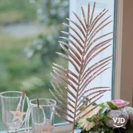 Décoration Feuille pailletée rose gold 48 cm