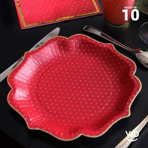 10 assiettes pois dorés carton couleur rouge 21 cm