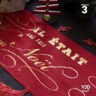 Chemin de table Il était une fois Noël couleur rouge. 3 mètres