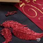 Décoration feuille palme sur tige rouge 25 cm