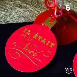 6 marques-places Il était une fois Noël rouges avec cordelette 16 cm