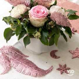 Décoration feuille palme sur tige rose gold 25 cm