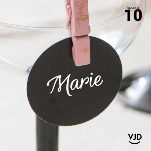 10 marques-places noir avec cordelette.