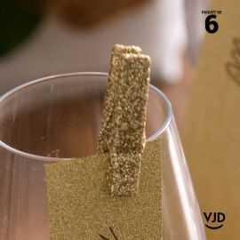 6 pinces en bois or pailletées 3,5 cm