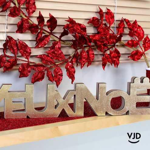 Décoration branche pailletée rouge 80 cm