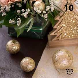 10 boules pailletées or