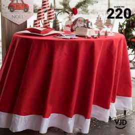 Nappe ronde blanche et rouge Noël 220 cm