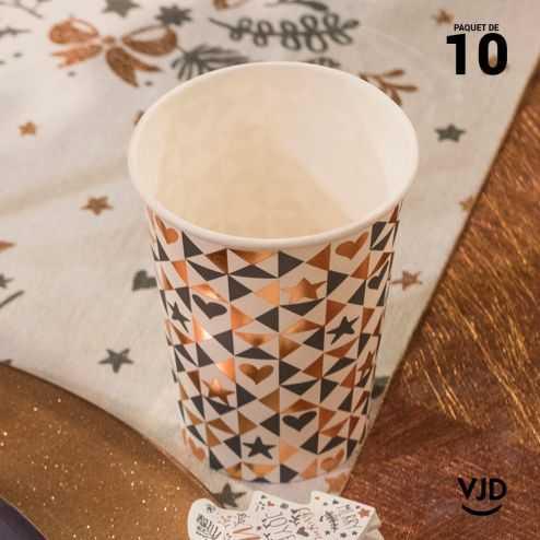 10 Gobelets carton Coeur de Noël blanc 20 cl