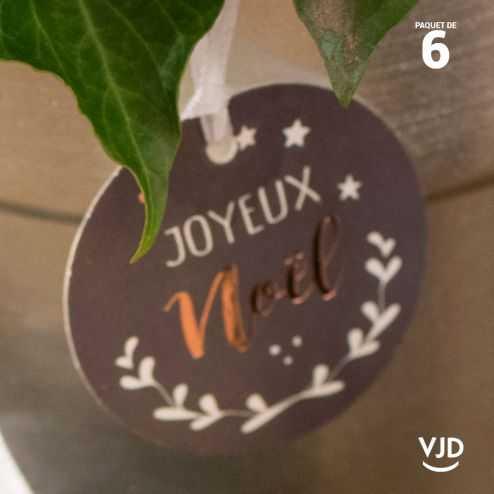 6 marques-places Joyeux Noël argent avec ruban 16 cm