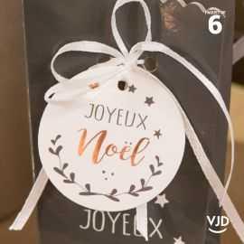 6 marques-places Joyeux Noël blanc avec ruban 16 cm
